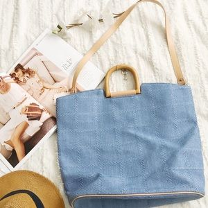 * Fossil Blue Wood Handle Bag